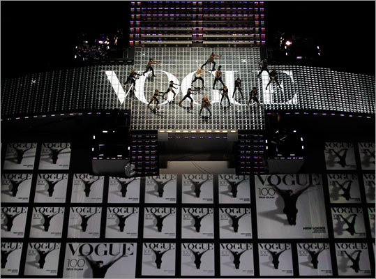 Madonna and a slew of dancers took to the stage to 'strike a pose' during her iconic song 'Vogue.'