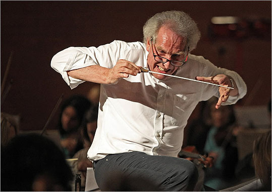 Former New England Conservatory conductor Benjamin Zander rehearsed at the Armory in Somerville, Ma., on Feb. 2, for an upcoming set of concerts.