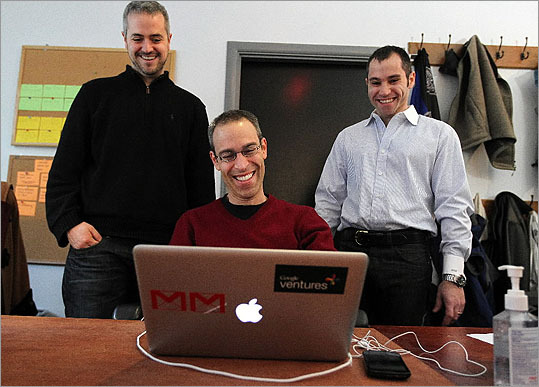 CustomMade Ventures Corp. cofounder and CEO Mike Salguero, left, and cofounder and CFO Seth Rosen, right, pose with Michael Margolis. With Google Ventures, Margolis works on user-experience testing in the 'Pit' at CustomMade.