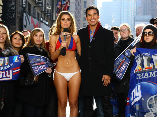 Actress, journalist, and television personality Maria Menounos has been a correspondent for 'Today,' 'Access Hollywood,' and 'Extra.' Here's a look at the Medford native and Emerson University grad throughout the years. On Monday, Feb. 6, Menounos made good on a bet with fellow 'Extra' host Mario Lopez that, should the Patriots lose Super Bowl XVLI , she would appear in Times Square in a N.Y. Giants bikini.