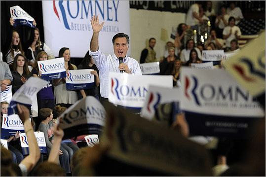 Mitt Romney spoke during a rally party at Arapahoe High School in Centennial, Colo., on Feb. 6.