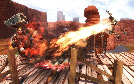 In the game, characters use magic powers to fight monsters. The hero is using the flame power in the still.