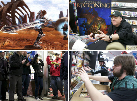 Former Red Sox pitching ace Curt Schilling made the biggest pitch of his life, as his video game company 38 Studios launched its first game , 'Kingdoms of Amalur: Reckoning,' in February. Check out the pitcher, the crowd that showed up at midnight for the game's release, and game stills.