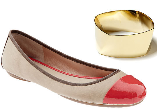 Nude Banana Republic flats with red captoe and gold bangle