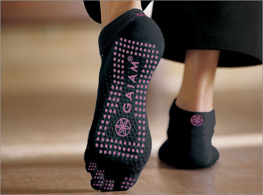 No Slip Yoga Socks $19.98 @ Gaiam While our fitness blogger is a fan of barefoot yoga, these socks are perfect for keeping your toes warm while also making sure you don't slip slide around while practicing your downward dog. If you want to do yoga but don't have a yoga mat, these are also a great option.