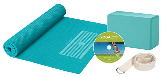 Yoga For Beginners Kit $29.98 @ Gaiam Want to try yoga but don't know where to start or what you'll need? This kit includes a tutorial from a yoga instructor, a mat, yoga brick, 6-foot strap, and two yoga workouts on a DVD. If you can't find a class to fit your schedule, this kit will help you find time at home to try out some sweet yoga postures.