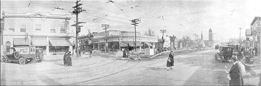 The Regent began life in 1916 as a vaudeville palace, before becoming a movie house. It then branched out to include a mix of movies, music, dance, comedy and kids' shows. Panorama in the 1920s taken from across Mass. Ave. looking at Medford St. and the Regent with Broadway Plaza (under construction) to the right.