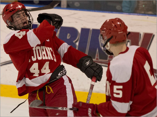 No. 8 St. John's of Shrewsbury (16-4-3) The last team voted into the event opened some eyes when it exploded for four goals in the first period of a play-in game against Needham on Monday. The Pioneers have two 20-goal scorers in Kevin Emmerling (26) and Vin D'Amato (24), who should strike fear in any defense. Setting the tone for the offense is Jay Duquette, a senior captain who has notched 22 assists this year. Sophomore goalie Mario Pizzeri got off on the wrong foot this season and saw his goals-against average balloon over 3.00, but he has found his stride at just the right time, posting three shutouts down the stretch.