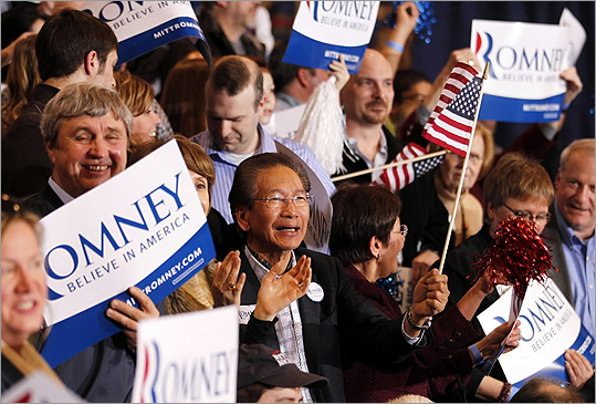 Romney supporters cheered in reaction to news that he was the projected winner in the Arizona primary, at his election watch party in Novi.