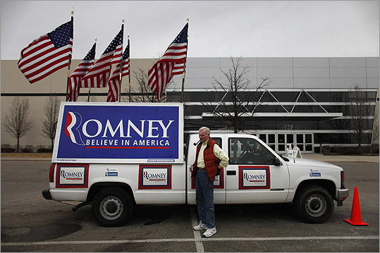 Jim Wilson stood in front of his truck that displayed a pro-Romney sign before the Michigan Primary rally in Novi.