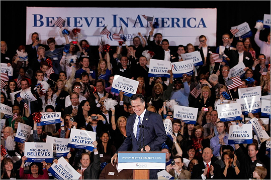 Romney held a gathering at Surburban Collection Showcase after winning both the Michigan and Arizona primaries.