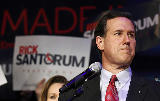 Rick Santorum spoke at his Michigan primary night rally in Grand Rapids, Mich. after losing both of the night's primaries to Romney.