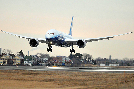 The Boeing 787 Dreamliner arrived at Logan International Airport Sunday morning.