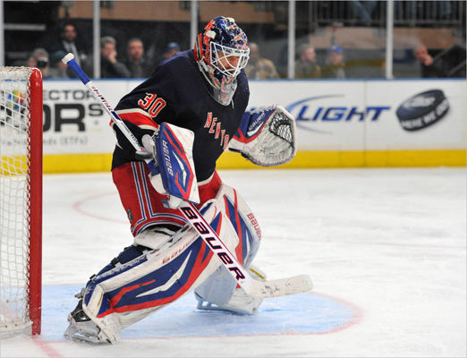 Henrik Lundqvist of the Rangers deflected a shot on goal during the third period.