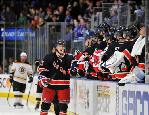 Derek Stepan of the Rangers was congratulated after scoring the game winning goal during the third period.