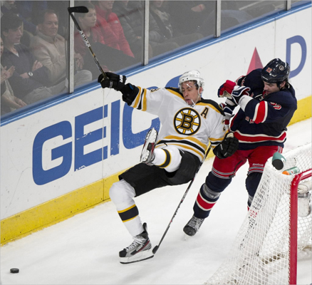 New York Rangers center Brian Boyle upended Boston Bruins center Chris Kelly in the third period.