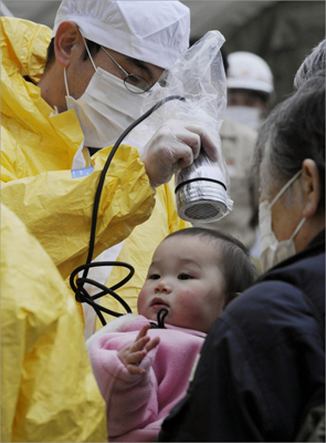 March 15, 2011 A baby was tested for radiation in northern Japan. Panic swept Tokyo after a rise in radioactive levels around the nuclear power plant north of the city, causing some to leave the capital and others to stock up on food and supplies.