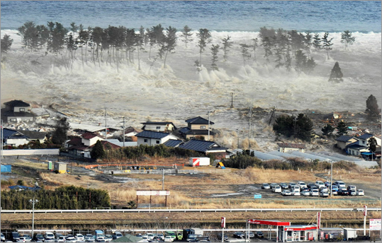 March 11, 2011 A massive tsunami, triggered by the largest earthquake to hit Japan in 140 years, swept in and engulfed a residential area in Natori, Miyagi Prefecture in northeastern Japan.