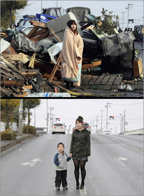 Then and now This combo image shows Yuko Sugimoto wrapped with a blanket standing in front of debris looking for her son in the tsunami-hit town of Ishinomaki in Miyagi Prefecture on March 13, 2011. Below, the same housewife stood with her 5-year-old son Raito at the same place on Jan. 27, 2012.