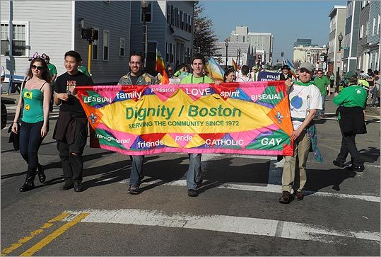 Members of the group Dignity/Boston walked in the Peace Parade. Group members describe themselves on their website as 'a progressive, inclusive organization of gay, lesbian, bisexual, and transgender Catholics.'