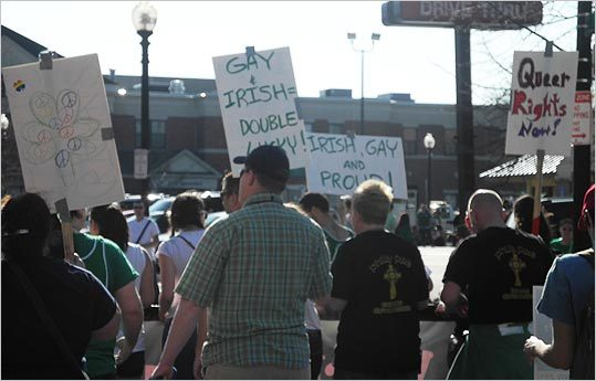 This group marching for gay rights advocacy held up signs that said things like, 'Gay + Irish = Double Lucky!'
