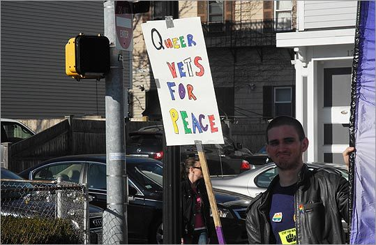 This man's sign read, 'Queer vets for peace.'