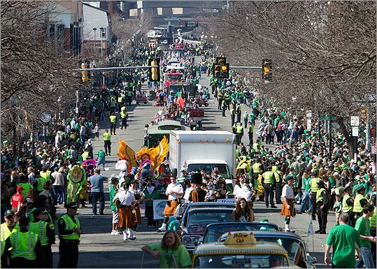 Crowds lined the street during the annual St. Patrick's Day Parade.