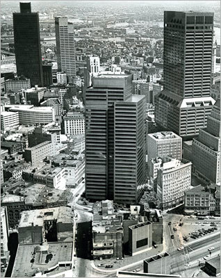 One Boston Place Actually located at 201 Washington St., the building (at top left) is near City Hall Plaza and the Old State House. Construction began in 1967, and the first tenants moved into the building in 1970. Picture taken 1973