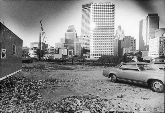 Federal Reserve Bank The photo shows the future site of the new building at 600 Atlantic Ave. near Dewey Square. The building was constructed during a time when Boston's skyline was being to really beginning to take shape, coming just a few years after One Boston Place and the First National Bank building. Photo taken 1973