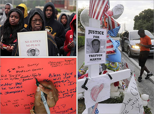Thousands of people around the country rallied for Trayvon Martin, a 17-year-old Florida high school student who was shot and killed by George Zimmerman, a Neighborhood Watch volunteer, who said he shot unarmed Martin in February 2012 in self-defense. In July 2013, Zimmerman was found not guilty of second-degree murder charges by a six-person, all-female jury after a month-long trial. See photographs and videos of reactions and protests to Martin's death from around the country.