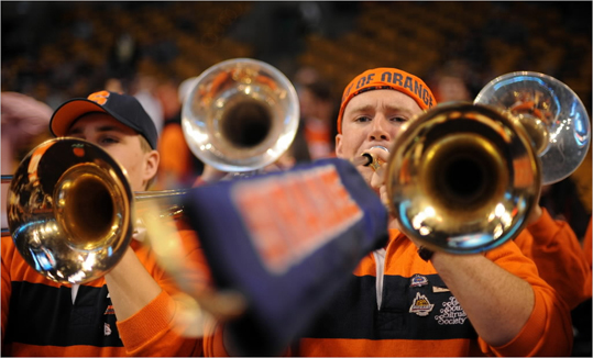The Syracuse Orange performed prior to a game against the Ohio State Buckeyes during the 2012 NCAA Men's Basketball East Regional Final at TD Garden on Saturday.