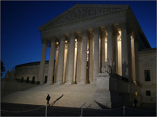 A guard walked outside the US Supreme Court building early this morning in Washington, D.C.
