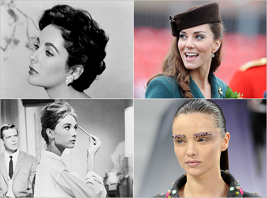 Eyebrows that make a statement have been a fashion focus as of recent. While icons like Elizabeth Taylor and Audrey Hepburn (left) kept lush brows hip during their heyday, fashion fixtures like Catherine, Duchess of Cambridge, and the models at the Chanel Fall/Winter ready-to-wear runway show have secured bold brows' rightful spot back in style. Check out some of our favorite eyebrow shapes and try to guess the starlet they belong to. Want to try these looks at home? We've rounded up some of our favorite brow products at the very end. Happy brow- sing!