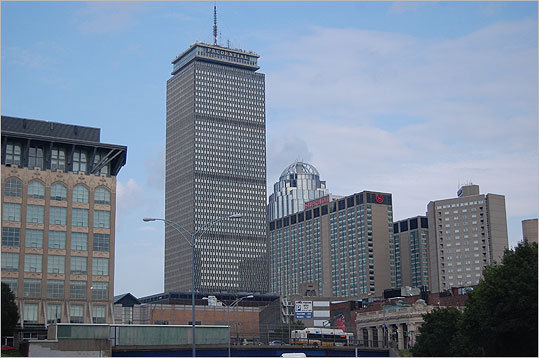 Prudential Tower Boston's second tallest building, which was built in in 1965, now features 52 stories of office space. The building's Skywalk observatory and shopping mall makes it a popular spot for tourists. Picture taken 2011