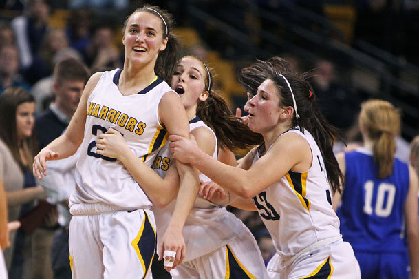 Andover's Nicole Boudreau (left) was mobbed by teammates in the Division 1 state semifinal at TD Garden.