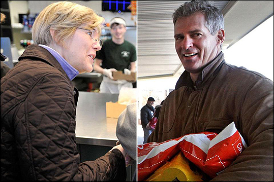 Senator Scott Brown, a Republican, campaigned in Attleboro while Democrat Elizabeth Warren talked with voters in Boston.