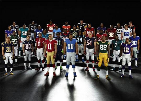 The NFL and Nike have unveiled new player uniforms. According to Nike: 'The Nike Elite 51 Uniform is truly the next generation in superior lightweight performance delivering a fully integrated system of dress for athletes at the highest level.' New England Patriots Wes Welker (83) can be seen wearing the team's new jersey.