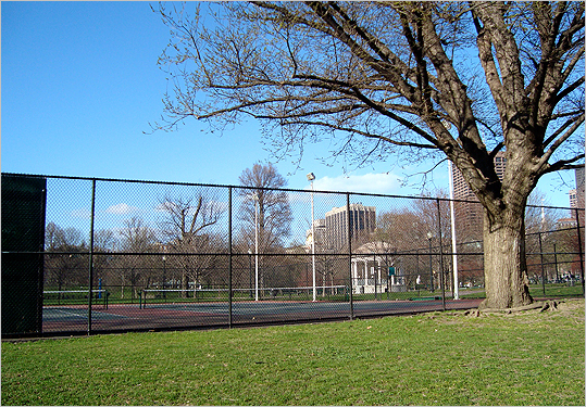 "Boston Common (cont.) These courts are famous for attracting a wide range of players, from sporty grandpas and grandmas to cute 10-year-old tennis prodigies and their enthusiastic father coaches. A hitting wall also allows you to work on perfecting your groundstrokes even when you can't find a partner. The only advice I have: Keep the ball on the court, as it can be tiring going back and forth getting the ball you ""accidentally"" hit outside. Details: Availability: Open to the public during park hours; Night lights: Yes; Courts: 2; Conditions: Average."