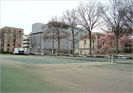Saxon Tennis Court at MIT (cont.) On the other hand, if you're just looking for a fun group activity  on a nice spring day, these courts will definitely do. Just watch out for the cracks; nobody wants to be injured before the warm seasons even start! Details: Availability: Open to the public during daylight hours; Night lights: No; Courts: 4; Conditions: Below average.