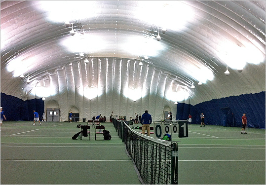 MIT duPont Courts/J.B. Carr Tennis Bubble (cont.) Outdoor courts are free, but do require reservations, which can admittedly be tough to come by during spring and summer. However, just like any other competitive sport, you've gotta jump right ahead from the get-go. Beware of those who come here regularly! More often than not, their superb tennis skills will make you feel highly inadequate. Details: Availability : Outdoor courts require walk-up reservations three days in advance, but it's free to play. Indoor courts are open to MIT students and their guests 2 p.m.-6 p.m. every day, for free, and non-students are welcome during the rest of the courts' open hours; Night lights: Yes; Courts: 12 outdoor and 4 indoor ; Conditions: Excellent.
