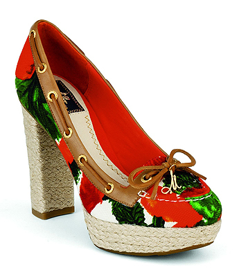 A floral heeled boat shoe for a collaboration with women's wear label Milly.