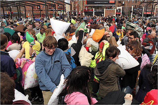 "Saturday's rumble was the fourth pillow fight put on by Banditos Misteriosos -- the first one was held in 2008. ""It's a chance to have some childish fun as adults,"" said Bandito E., one of the event's organizers."