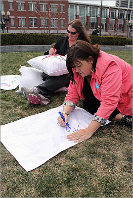 While the event was heavily populated by college students and young kids, even the adults turned out to have a little fun. To the left Liz Reiss and Amy Wrynn decorated their pillows before the games began.