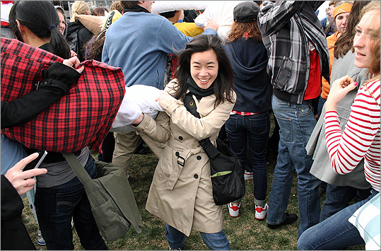 "Tammy Hui fought her way through the crowd. ""You're never too old for a pillow fight,"" said the 26-year-old Boston resident."