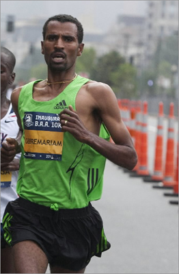 "In Boston last year, Gebregziabher ""Gebre"" Gebremariam, 27, of Ethiopia improved his personal best by more than three minutes (2:04:53) with his third place finish. Last year Gebre's wife, Werknesh Kidane, also ran Boston and they became the fastest husband-wife duo in history with a combined time of 4:31:08."