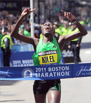 In Boston's 2011 women's race, Caroline Cheptanui Kilel, 31, of Kenya, traded the lead with American Desiree Davila several times down the finishing stretch of Boylston Street. Kilel ultimately triumphed by two seconds over Davila for the 2:22:36 win.