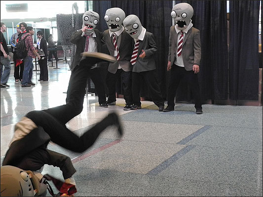 Zombies from 'Plants vs. Zombies' danced for the crowd in the Boston Convention and Exhibition Center lobby on Friday.