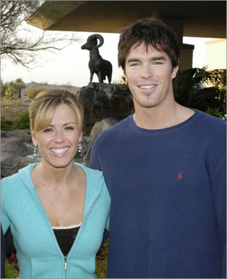 Ryan Sutter, a contestant from the Bachelorette pictured here with fellow reality TV star Trista Rehn, is entered in this year's Boston Marathon, according to Boston Athletic Association officials.