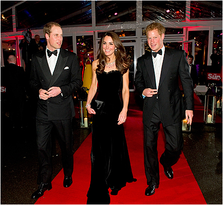 With Prince Harry (right) at The Sun Military Awards at Imperial War Museum on December 19, 2011 in London.