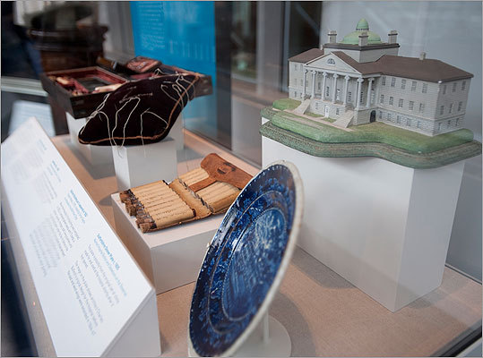 The museum displays a number of artifacts related to both the hospital and the history and evolution of medical practice. Displayed here are MGH-related artifacts including a model of its original hospital, the still-standing Bulfinch Building, which opened to patients in 1821; a commemorative plate with the Bulfinch image and a needle cushion that once belonged to the hospital cofounder Dr. John Collins Warren.